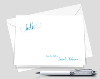 Personalized Hello Stationery, Folded note cards, Personal stationary set _ Set of 12 with Envelopes _ Signature Collection _  HWM014