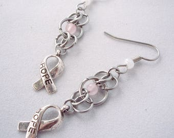 Breast Cancer Awareness Ribbon Rose Quartz Chainmaille Drop Earrings Pink