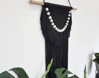 Large Black Macramé & Beaded Wall Hanging