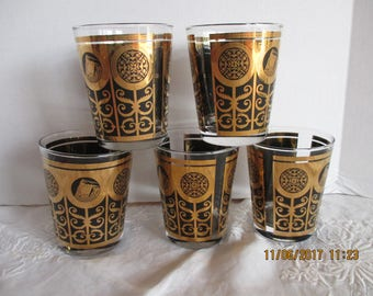 Libbey On the rocks Glasses ~ Blacks with gold design