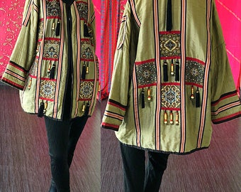 I Magnin Jacket India Silk Ethnic Beaded Fringe Jacket Vintage 70s Indian Jacket