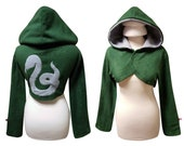 Harry Potter Hogwarts House Slytherin inspired cosplay costume hoodie (shrug style), potterhead, harry potter fan, witch, wizard, gothic
