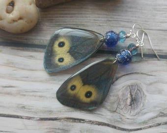 Pansy Butterfly Earrings. Butterfly wings Earrings. Insect Jewellery.  Delicate. Sterling silver. UK artist. Lampwork. Unique jewellery