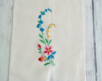 Pretty Vintage Tea Towel Hand Embroidered in Blue Pink Yellow and Green, Applied Blue Border, Vintage Kitchen Towel, Hand Towel, Lovely
