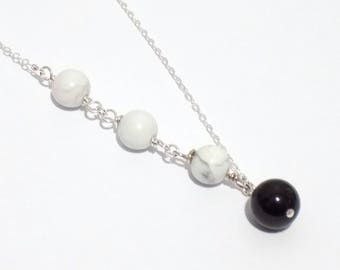 White necklace, stone necklace, Long necklace, sterling silver necklace, chain necklace, howlite necklace, womens necklace