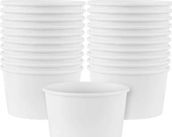 Set Of 10 Sturdy White Paper Treat Cups - Ice Cream Cups - Hot & Cold Cups - Perfect For Your Celebrations!