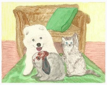 Puppy, bunny and waving kitten blank greeting card