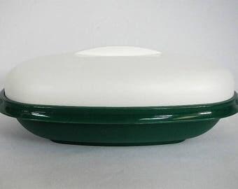 Vintage Tupperware Meals In Minutes Server, Insert, Lid - RARE forest green, white, 1273, 1274, 1275 - steamer, colander, microwave, kitchen