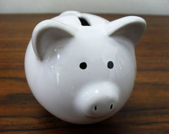Hold! Vintage White Small Ceramic Piggy Bank Pig Figurine