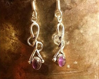 Holiday SALE 85 % OFF Amethyst  Earrings Gemstone  .925 Sterling  Silver