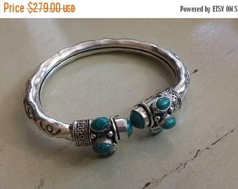 Holiday SALE 85 % OFF Turquoise  Bangle Cuff Gemstone 925 Sterling Silver