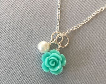 Bridesmaids Flower Girl Wedding Silver Plated Resin Rose and Pearl Necklace