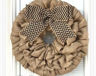Year Round Burlap Wreath - Summer Wreath - Chevron Wreath -  Home Decor -  Front Door Wreath  - Welcome Wreath- Everyday Wreath - Door Decor