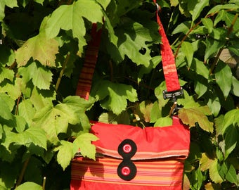 Red upholstery silk shoulder bag