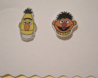 Bert and Ernie Faces Best Friends Pierced Earrings Set Sesame Street inspired handmade jewelry, 1cm.