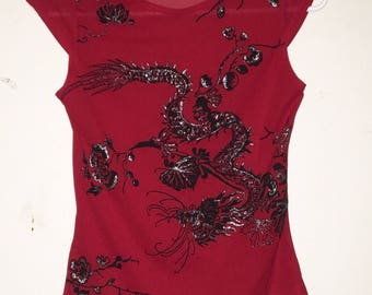 Y2K Red sheer dragon glittery top