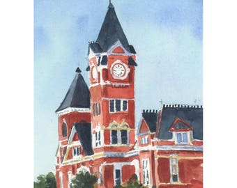 Samford Hall in Auburn sign watercolor art print - Digital Download Only- 5 by 7- Auburn, Alabama- Instant Download-