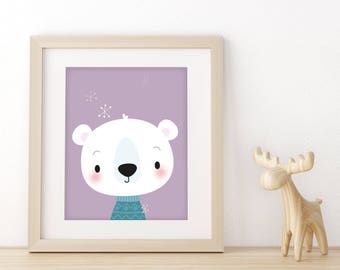 kids illustration - Christmas 2018, Polar bear print, unique Christmas baby gift, animal nursery print, Scandinavian nursery, new baby gift