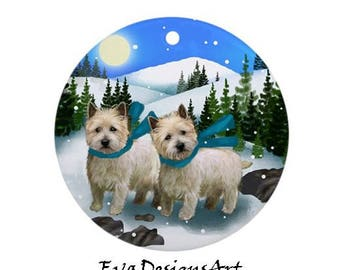 White CAIRN TERRIER DOGS Winter Day Pet Porcelain Ornament Round shape