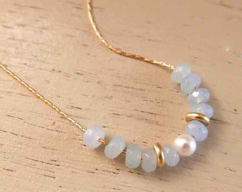Swarovski Crystal Necklace - Gold Beads Necklace - 14k Gold Filled Necklace - Minimal Gold Necklace - Simple Gold Necklace - Delicate