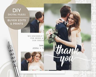 Wedding Thank You Template - Wedding Thank You Card, Instant Download, Photoshop Template for Photographers, Photo Wedding Thank You Card