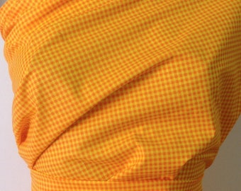 3 meters fabric gingham printed yellow/orange lot 77