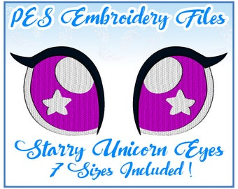 PES Starry Unicorn Eyes embroidery files Instant Download (JEF included)