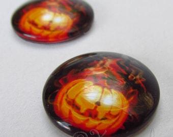 Halloween Pumpkin Cabochons - 5/10/20 Wholesale 20mm Jack O Lantern Orange Glass Cabs C3609