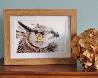 Owl Watercolour Painting - Bird of Prey - Framed Eagle Owl giclee print - Bird Art Picture - Picture and gift for the home