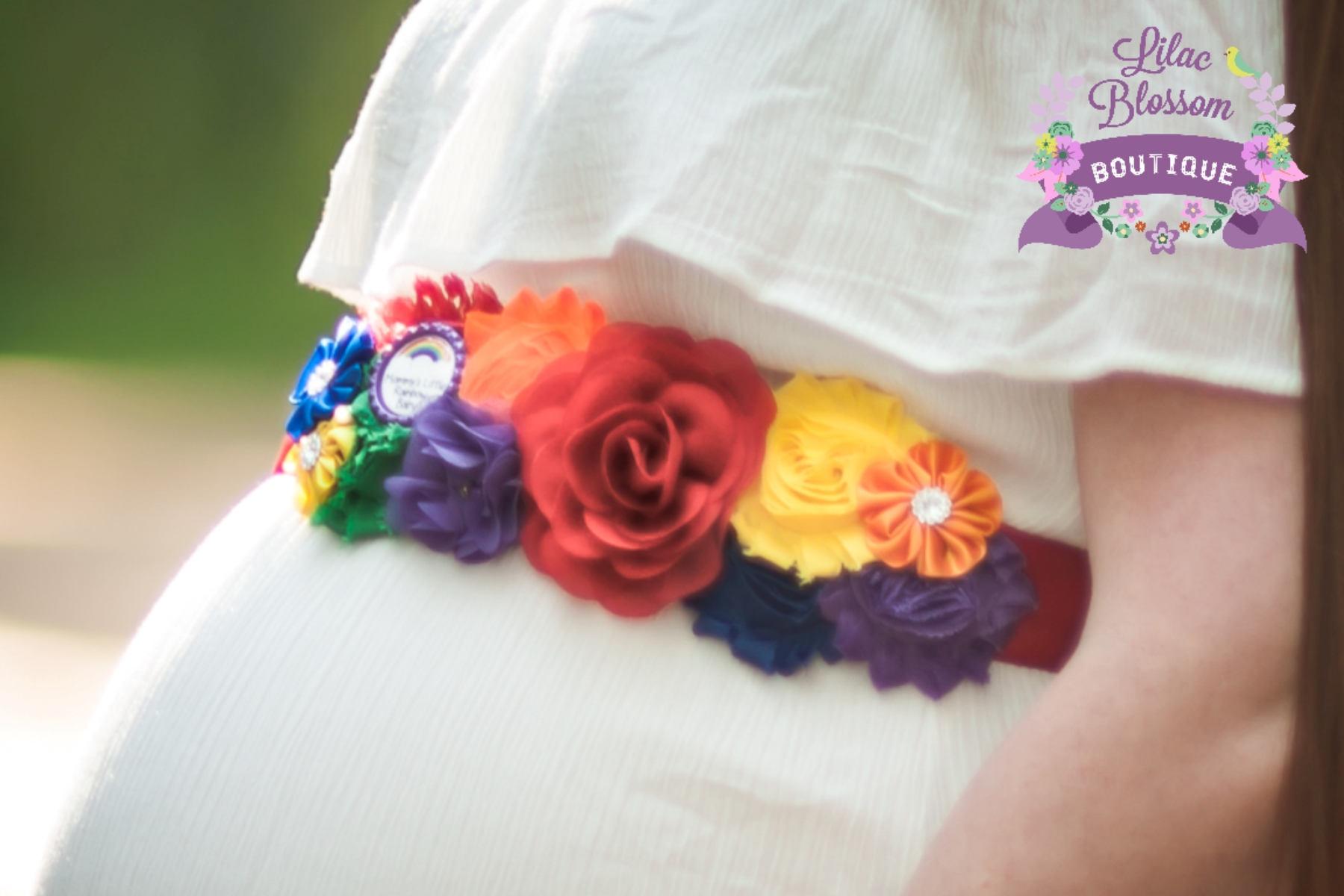 Rainbow Baby Maternity Sash Rainbow Baby Shower Rainbow Baby