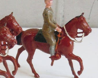 Antique Toy Soldiers /  Britains Ltd. / 5 Soldiers on Horseback / Vintage Toys from the 1940's
