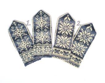 White Gray Black Knitted Nordic Mittens Wool Mittens Scandinavian Gloves Patterned Norwegian Mittens Knit Wool Gloves Natural Winter Gloves
