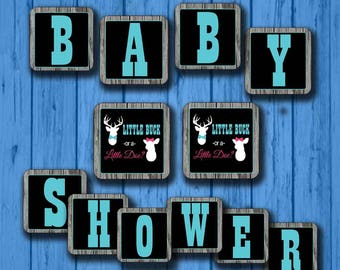 Buck and Doe Baby Shower Banner- Buck and Doe Baby shower- Instant DIY Design file ONLY Doe and Buck Banner-Gender Reveal Baby shower-Gender