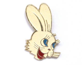 Hare, Vintage metal collectible badge, White, Nu pogodi, Soviet Vintage Pin, Made in USSR