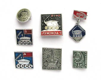 Lunokhod 1, Set of 7 Soviet Badges, Moon, Cosmos, Rare Soviet Vintage metal collectible pin, Made in USSR, 1970s