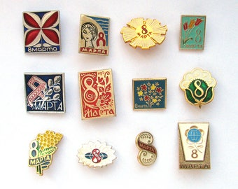 Eight of March, International Women's Day, Badge,  Soviet Holiday, Vintage collectible badge, Soviet Vintage Pin, Soviet Union, Made in USSR