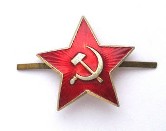USSR Red Military Star, Hat badge, Hammer and Sickle, Vintage metal collectible badge, Soviet Vintage Pin, Made in USSR