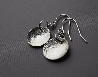 Hammered Sterling Silver Earrings Tiny Silver Earrings Sterling Silver Disc Earrings Simple Earrings Minimal Earrings Modern Silver Earrings