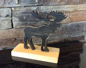 Wooden Moose, moose, wooden, animal sign, standing moose, standing animals, cottage decor, home decor, rustic decor, wedding gift, wedding