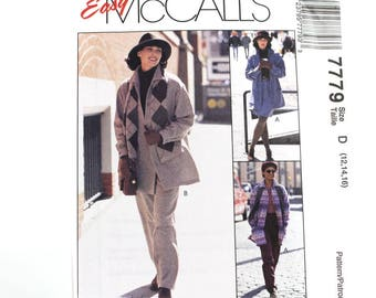 Unlined Jacket, Skirt and Pants Pattern, Shirt Jacket, Elastic Waist, Uncut Sewing Pattern, McCalls 7779, Size 12-16