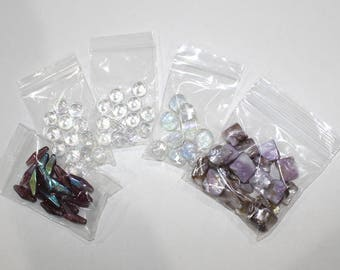 Purple and Clear Glass and Pearl Bead Destash, B371