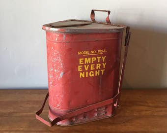 Vintage triangle red industrial rag trash can - great patina