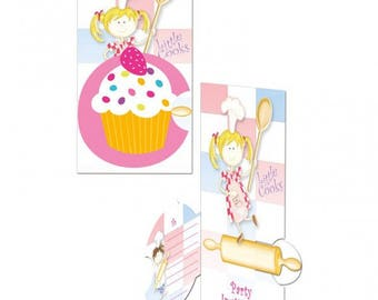 Set of 8 cards, invitation and envelopes Little Cooks