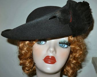 Vintage Black Felt & Feather Hat w Bird Lisette