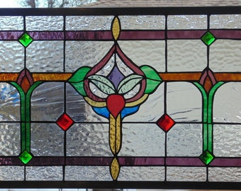 Stained Glass Window Hanging 29 1/2 X 16 1/2