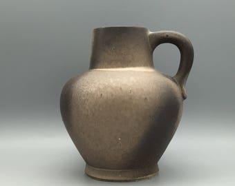 Otto  Keramik / Ceramic stylish Mid Century handled beige / grey Vase  1960s WGP West Germany