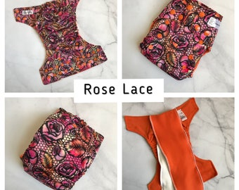 One Size Cloth diaper, cloth diaper, all in two (ai2) cloth diaper, newborn cloth diaper, cloth nappy - Rose Lace