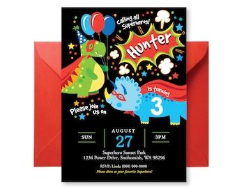 Superhero Dinosaur Invitation, Dinosaur Invite, Superhero Invitation, Printable, Digital Customized, Invitation, Cute Dinosaur Invite