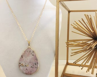 LIMITED EDITION Light Pink Tan Brown Speckled Agate Geode Oval Teardrop Pendant Long Gold Necklace