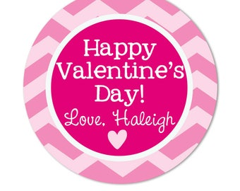 Chevron Valentine Day Stickers, Girls personalized Classroom valentine Stickers for treat favor bags, valentine boxes